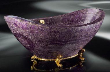 Wanny z kamieni mineralnych, malachitu, ametystu i kryształu