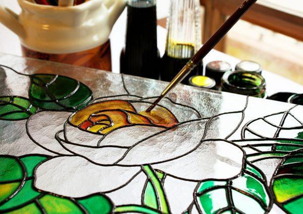 malowane szkło witrażowe